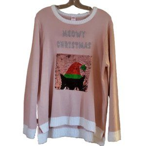 Holiday Time Pink Christmas Kitty Sweater XXl